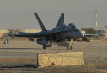 Kuwait. 9 November 2014 – A Canadian Armed Forces CF-18 fighter jet in Kuwait taxis to takeoff for a morning mission over Iraq during Operation IMPACT. (Photo IS2014-7535-02 by Canadian Forces Combat Camera, DND)