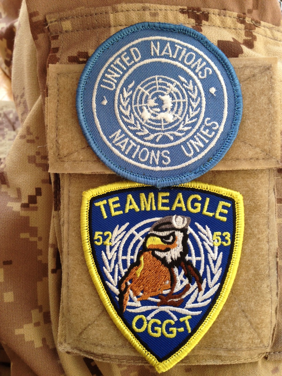 Golan Heights. Fall 2016 – The badges for the United Nations and Team Eagle, Observer Group Golan – Tiberias are on the arm of a United Nations Military Observer. (Photo by Major Adrian Fyfe, Operation JADE Task Force Commander)