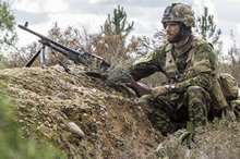 Santa Margarida, Portugal. 29 October 2015 – A member of A Company (Airborne) 3rd Battalion Royal 22nd Regiment watches for possible enemy movement during a foot patrol on a fictitious Operation, Operation Allied Resolve, in Santa Margarida, Portugal during JOINTEX 15 as part of NATO's Exercise Trident Juncture 15. (Photo: Master Corporal Jonathan Barrette, Canadian Forces Combat Camera)