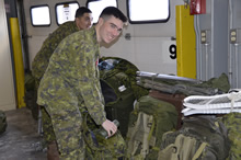 On January 29, 2017, soldiers from 4 Artillery Regiment (General Support), 5th Canadian Division, prepare to deploy to the Acadian Peninsula to support the Government of New Brunswick's ongoing relief efforts. (Photo: 5th Canadian Division Public Affairs)