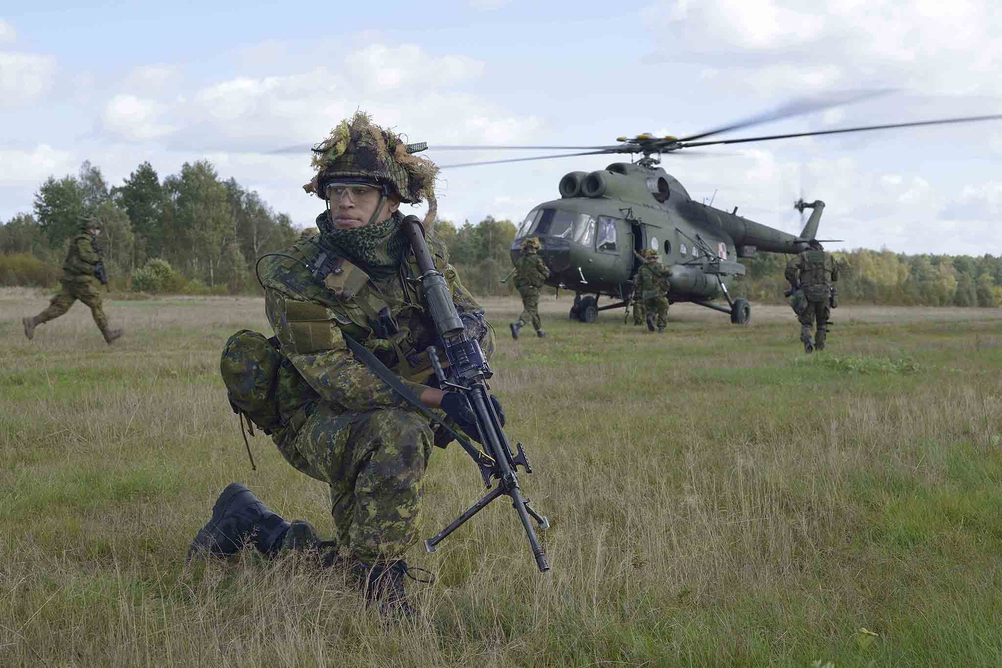 Canadian forces write a soldier