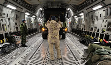 Évreux, France. 17 January 2013 - A Canadian Forces Loadmaster loads a French military fuel truck on to a Canadian Forces CC-177 Globemaster III in Évreux, France prior to being delivered to Bamako, Mali. (photo by Sergeant Matthew McGregor, Canadian Forces Combat Camera)