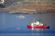 Resolution Island, Nunavut. 20 August 2013 – Canadian Coast Guard Ship PIERRE RADISSON and Her Majesty's Canadian Ship SHAWNIGAN sail off the coast of Resolution Island during Operation NANOOK 2013. (photo by Captain Dennis Noel, Public Affairs NDHQ Ottawa)