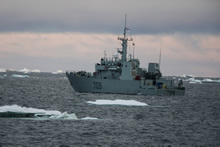 Northwest Territories. 18 August 2015. Her Majesty's Canadian Ship SASKATOON navigates through an ice shelf in the Arctic Ocean during her voyage to Sachs Harbour during Operation NANOOK (Photo: LS Ogle Henry, MARPAC Imaging Services).