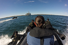 August 24, 2016. Pathfinders from Royal 22e Régiment, Valcartier Quebec, jump into the waters of Rankin Inlet, Nunavut during Operation NANOOK 2016 on August 24, 2016. (Photo: Lt(N) Andrea Murray)