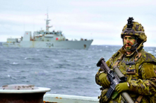 August 26, 2016. While at anchor in Rankin Inlet, Nunavut, Her Majesty's Canadian Ship MONCTON is used as a staging point for the Royal 22e Régiment during Operation NANOOK on August 26, 2016. (Photo: Petty Officer Second Class Belinda Groves, Task Force Image Technician)