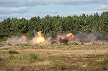 September 21, 2016. Breaching charges detonate during a demolition exercise in the Drawsko Pomorskie Training Area, in Poland during Operation REASSURANCE, September 21, 2016. (Photo: Cpl Jay Ekin, Operation REASSURANCE Land Task Force Imagery Technician)