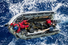 Mediterranean Sea. 7 June 2014 - Crewmembers from Her Majesty's Canadian Ship REGINA recover a practice dummy with ship's zodiac during a man overboard training during Operation REASSURANCE. (Photo by Cpl Michael Bastien, MARPAC Imaging Services)