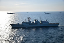 Black Sea. 22 July 2016 – HMCS Charlottetown participates in Exercise SEA SHIELD with NATO members and partner states, including Bulgaria, Poland, Romania, Spain, Turkey, Ukraine, Greece, and the United States. (Photo by Romanian ship ROS Regina Maria)