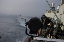 Black Sea. 6 September 2014 - Spanish naval vessel Almirante Juan de Borbon manoeuvres astern on its way to the Black Sea to take part in Exercise Sea Breeze. (Photo by MS Peter Reed, Formation Imaging Services Halifax)