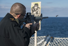 Mediterranean Sea. 5 January 2015 – Crewmembers of Her Majesty's Canadian Ship FREDERICTON conduct small arms training while transiting to the Mediterranean Sea to join Operation REASSURANCE on January 5, 2015.  (Photo: Maritime Task Force - OP Reassurance, DND)