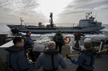 27 January 2015 – Her Majesty's Canadian Ship FREDERICTON conducts a replenishment at sea with German supply ship FGS SPESSART during Operation REASSURANCE on January 27, 2015. (Photo: Maritime Task Force - OP Reassurance, DND)