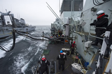 11 May 2015 - Her Majesty's Canadian Ship FREDERICTON conducts a liquid replenishment at sea (RAS) with French Ship Somme, during Exercise DYNAMIC MONGOOSE as part of its deployment under Operation REASSURANCE. (Photo: Maritime Task Force - OP Reassurance, DND)