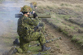Central and Eastern Europe. 13 October 2014 - A member of Oscar Company Group, 3rd Battalion, The Royal Canadian Regiment shoots a M-72 anti-tank rocket during Operation REASSURANCE. (Photo: Corporal Dolores Crampton, Directorate of Army Public Affairs)