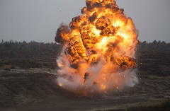 March 30 2016. Poland. Engineers from 5 Combat Engineer Regiment initiate an explosion during a training activity organized as part of Operation REASSURANCE at the Drawsko Pomorskie Training Area, Poland on March 30, 2016.(Photo: Cpl Guillaume Gagnon)