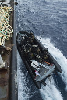 4 July 2016 – Members of the Royal Canadian Navy's Enhanced Naval Boarding Party onboard Her Majesty's Canadian Ship (HMCS) CHARLOTTETOWN conduct training exercises while on route from Canada to the Mediterranean Sea prior to HMCS CHARLOTTETOWN's participation in Operation REASSURANCE on July 4, 2016. (Photo: Cpl Blaine Sewell, Formation Imaging Services)