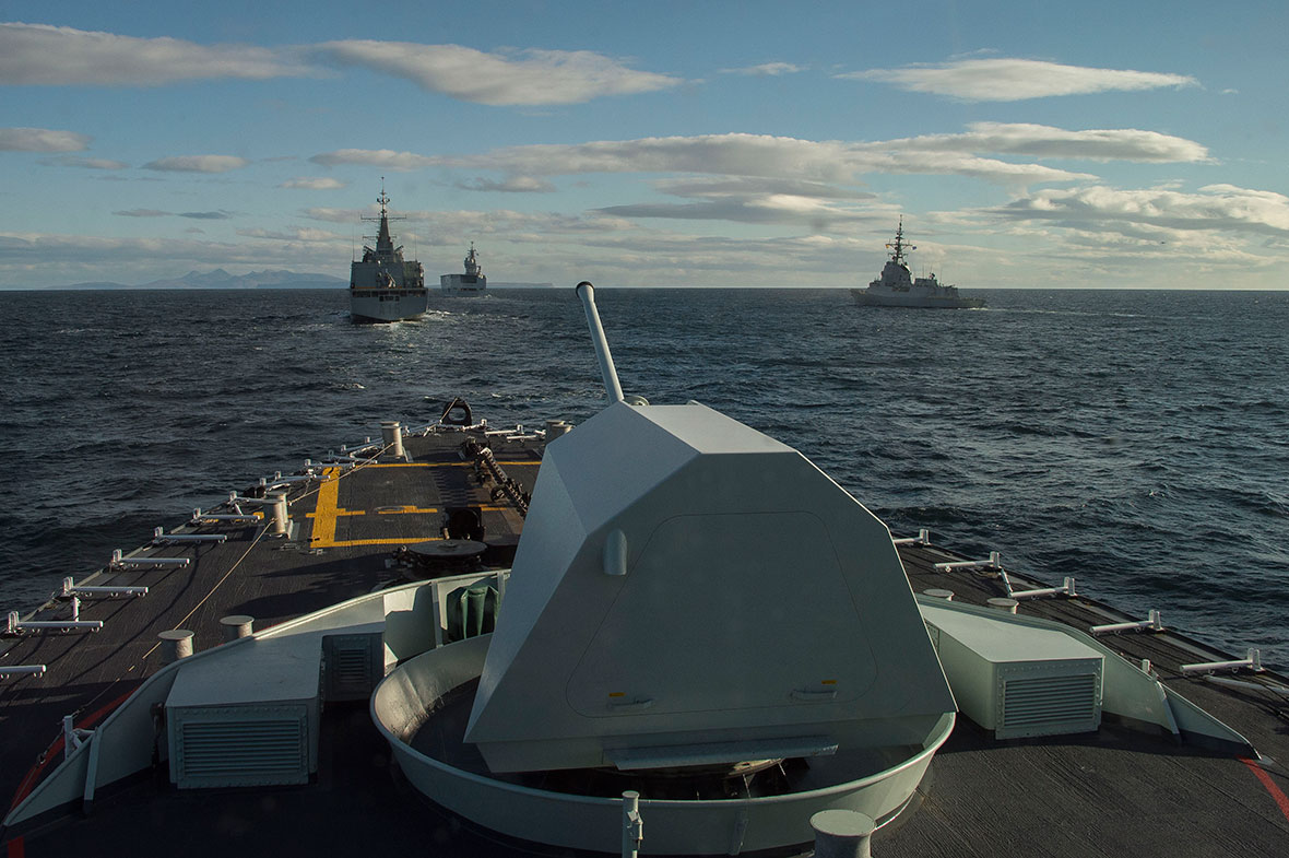 Atlantic Ocean. October 13, 2016 – Her Majesty's Canadian Ship (HMCS) CHARLOTTETOWN (bottom), French Navy ship Tonnerre (top centre), and Spanish Navy ships SPS Cantabria (top left) and Almirante Juan de Borbo(top right) manoeuvre into position to take part in a multinational naval formation during Exercise JOINT WARRIOR. (Photo: Cpl Blaine Sewell, Formation Imagery Services)