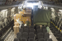 8 Wing Trenton. 28 April 2015 – Interior of CC-177 Globemaster aircraft fully loaded prior to departure for Nepal on April 28, 2015. (Photo: Corporal Dan Strohan, 8 Wing Imaging)