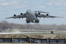 8 Wing Trenton. 28 April 2015 – A CC-177 Globemaster aircraft loaded with elements of the Disaster Assistance Response Team (DART) and personnel takes off from 8 Wing Trenton bound for Nepal on April 28, 2015. (Photo: Corporal Dan Strohan, 8 Wing Imaging)
