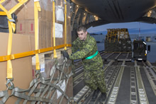 8 Wing Trenton. 28 April 2015 – A Canadian Armed Forces member loads a CC-177 Globemaster with aid for the treatment and recovery of people after the earthquake in Nepal, from Canadian Forces Base Trenton on April 28, 2015. (Photo:  Corporal Dan Strohan, 8 Wing Imaging)