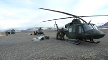 Fort Eureka, Ellesmere Island, 2013 – Flight crews refuel three CH-146 Griffon helicopters on the runway during Operation NEVUS 2013. (photo by Capt Ray Connelly, 438 Tactical Helicopter Squadron)
