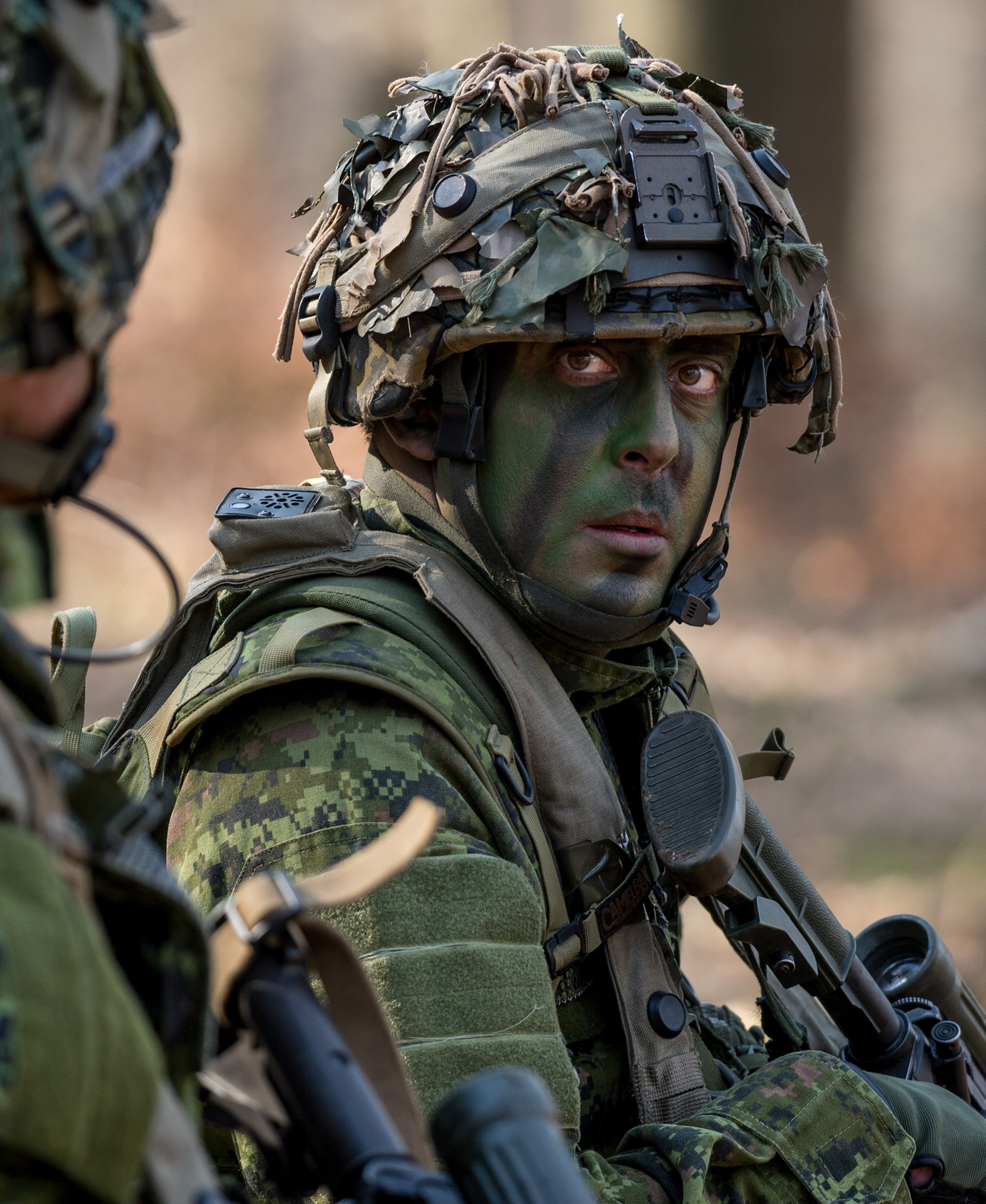 Hohenfels, Germany. March 16, 2017 – A member of 3rd Battalion, Princess Patricia's Canadian Light Infantry keeps watch for his teammates in the Hohenfels Training Area on Exercise ALLIED SPIRIT VI during Operation REASSURANCE. (Photo: MCpl Jennifer Kusche, Canadian Forces Combat Camera)