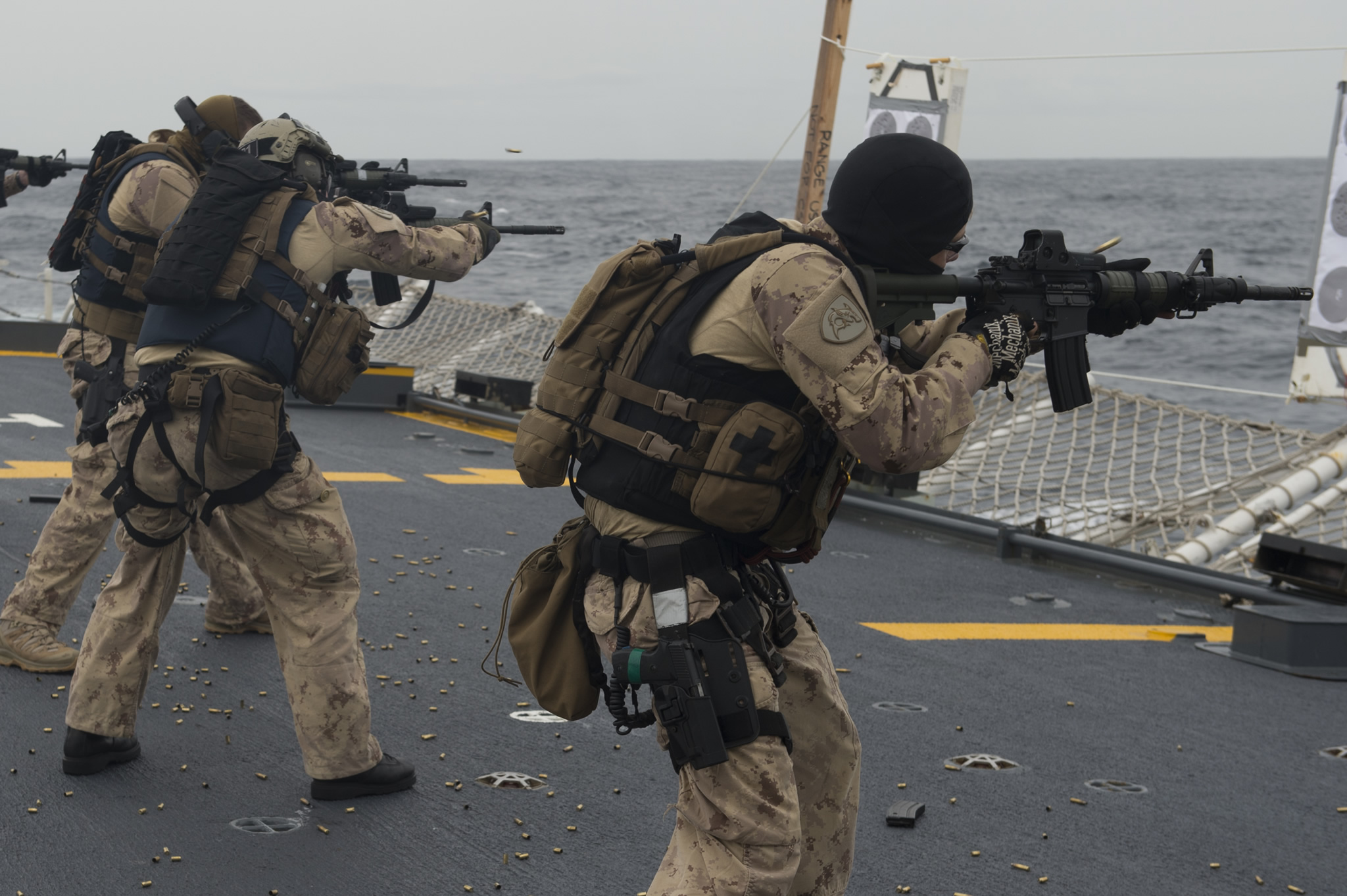 Mediterranean Sea. January 21, 2017 – Members of the Enhanced Naval Boarding Party conduct small arms firing training onboard Her Majesty's Canadian Ship St. John's as the ship transits the Mediterranean Sea during Operation REASSURANCE. (Photo: Leading Seaman Ogle Henry, Formation Imaging Services)