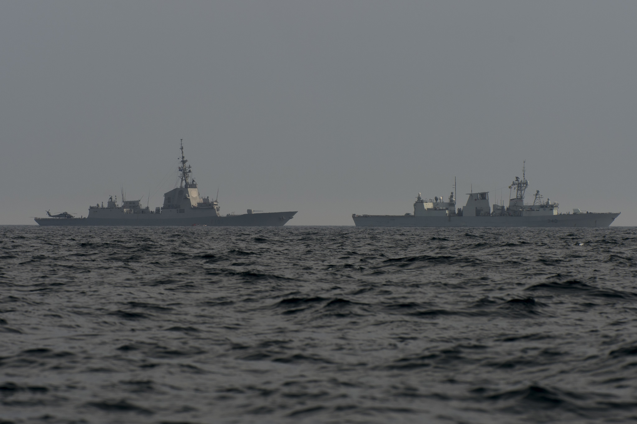 Black Sea. February 7, 2017 – HMCS St. John's and Spanish Naval frigate JUAN DE BORBON sail in close formation during their transit on the Black Sea during Operation REASSURANCE. (Photo: Leading Seaman Ogle Henry, Formation Imaging Services)