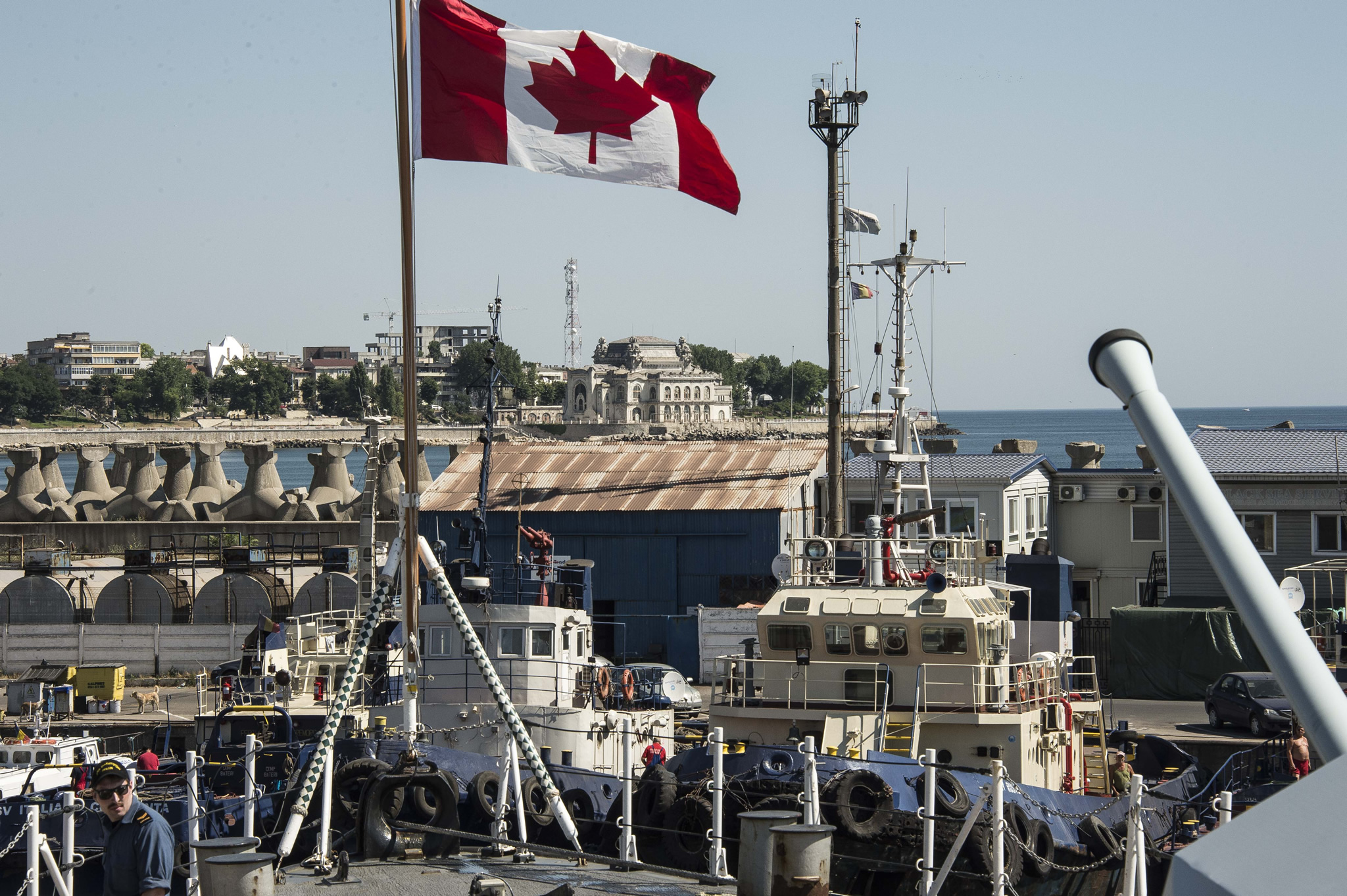 Constanta Harbour, Romania. 22 July 2016 – Her Majesty's Canadian Ship (HMCS) CHARLOTTETOWN is berthed at Constanta Harbour, Romania after participating in Exercise SEA SHIELD during OPERATION REASSURANCE. (Photo: Cpl Blaine Sewell, Formation Imaging Services)