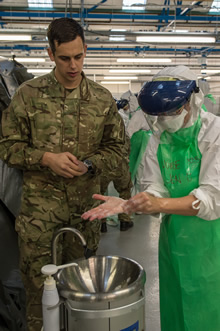 Strensall, UK. 11 December 2014 – Canadian Armed Forces medical personnel learn proper hand washing procedures during Operation SIRONA pre-deployment training with their British counterparts at the Army Medical Services Training Centre in Strensall, UK. (Photo: Sgt Yannick Bedard Canadian Forces Combat Camera)