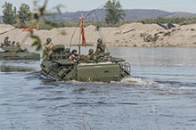 Tejo River. 23 October 2015 – Canadian Armed Forces engineers and Italian troops conduct an amphibious exercise using the Italian Assault Amphibious Vehicle (AAV-7) from Santa Margarida to Almourol Castle, Portugal, via the Tejo River during JOINTEX 15 as part of NATO's Exercise Trident Juncture 15. (Photo: Master Corporal Jonathan Barrette, Canadian Forces Combat Camera)