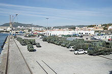 Santa Margarida Base. 8 October 2015. A fleet of Canadian military vehicles parked at Setúbal Harbour, Portugal, awaits transport to Santa Margarida Base to take part in Exercise TRIDENT JUNCTURE 2015. (Photo: Corporal Alex Parenteau, Canadian Forces Combat Camera)