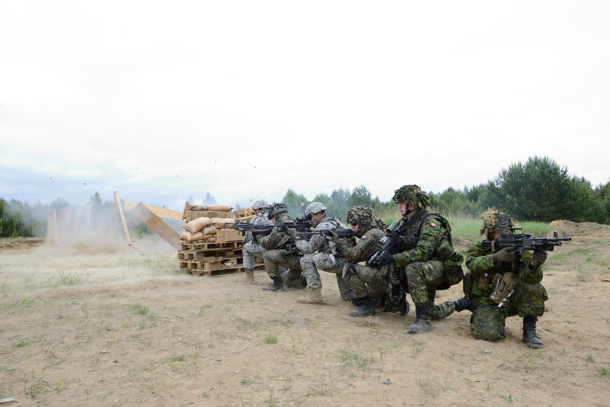 Poland. 29 May 2014 - Paratroopers from 3rd Battalion, Princess Patricia's Canadian Light Infantry, the U.S. 1-503 Airborne and the Polish 16th Airborne Battalion wait for the C4 to detonate before they can advance on an obstacle during training at the Czertyn.