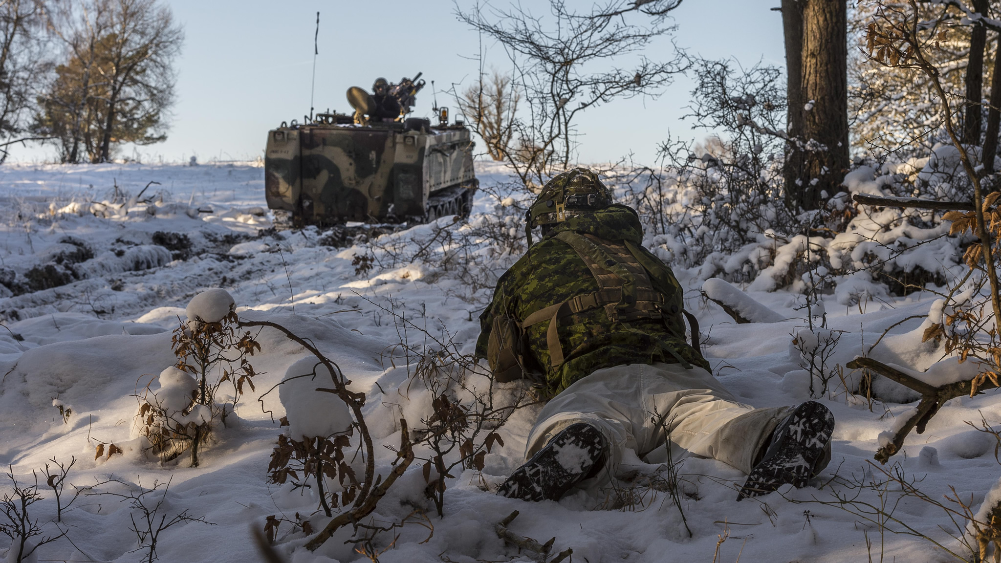 Hohenfels, Germany. 22 January 2016 – A Canadian Armed Forces member lies in the prone position while doing a sweep of the area during Exercise ALLIED SPIRIT IV at the Joint Multinational Readiness Center Training area in Hohenfels, Germany during Operation REASSURANCE. (Photo: Corporal Nathan Moulton