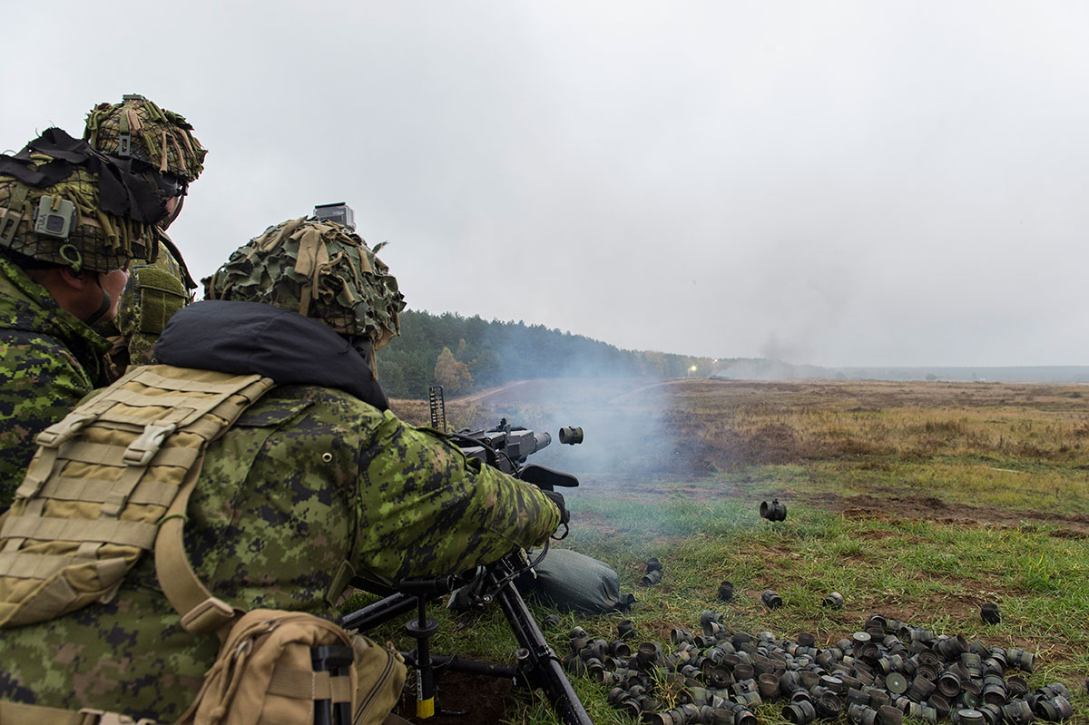 Operation REASSURANCE. October 20, 2016–Members of Alpha Company (A Coy), 1 Princess Patricia's Canadian Light Infantry (1 PPCLI), fire the C16 Close Area Suppression Weapon (CASW) (Automatic Grenade Launcher) at Studnica shooting range in Drawsko Pomorskie Training Area, Poland. (Photo: Cpl Jay Ekin,  Operation REASSURANCE Land Task Force Imagery Technician)
