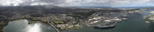 July 06, 2016. A panoramic aerial view of Pearl Harbour at Joint Base Pearl Harbor-Hickam, Hawaii for RIMPAC 16 on July 6, 2016. (Photo Credit: Corporal Brett White-Finkle, Canadian Forces Combat Camera)