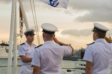 July 01, 2016. Sailors from Her Majesty's Canadian Ship (HMCS) Calgary conduct a sunset ceremony on Canada Day during RIMPAC 16 at Joint Base Pearl Harbour-Hickam, Hawaii on July 1, 2016. (Photo Credit: Corporal Brett White-Finkle, Canadian Forces Combat Camera)