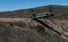 San Diego, California. July 15, 2016 - Snipers, Pathfinders and Reconnaissance members, from 2e Bataillon Royal 22e Régiment, conduct insertion and extraction by helicopter training with a Royal Canadian Air Force CH-147F Chinook helicopter during RIMPAC 2016 at Camp Pendleton. (Photo by: Sgt Marc-André Gaudreault, Valcartier Imaging Services)