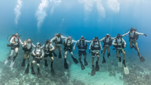 Canadian Clearance Divers and other staff involved with the training of Caribbean Divers pose underwater for a group photo at the end of Exercise TRADEWINDS 16 in Discovery Bay Jamaica, on June 26, 2016. (Photo: Sgt Yannick Bédard, Canadian Forces Combat Camera)