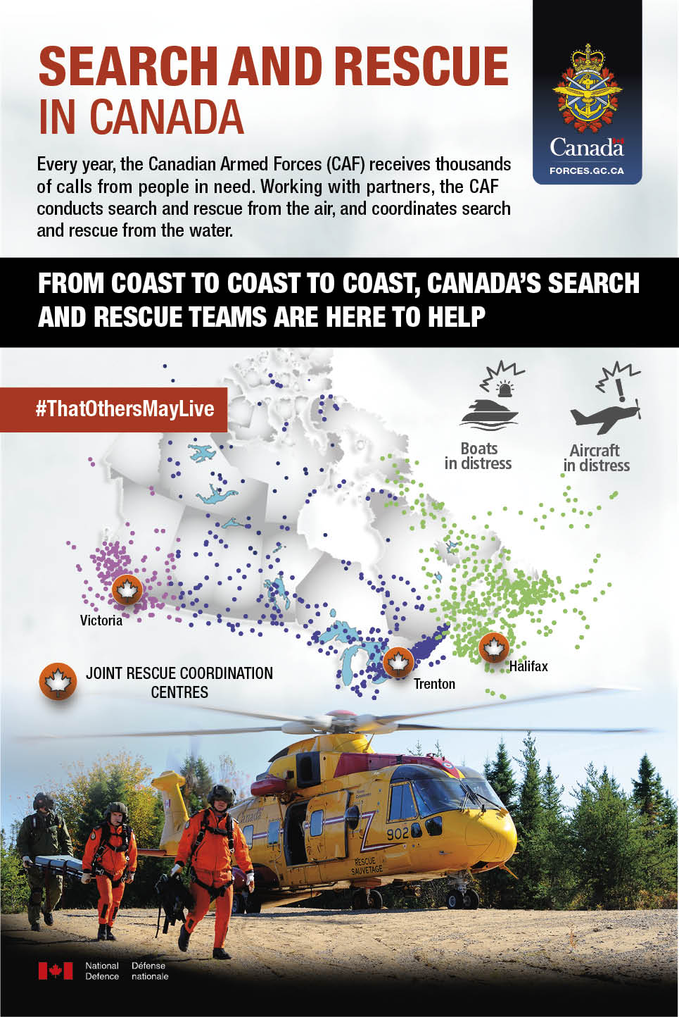 Infographic explaining search and rescue in Canada. Follow link for details.