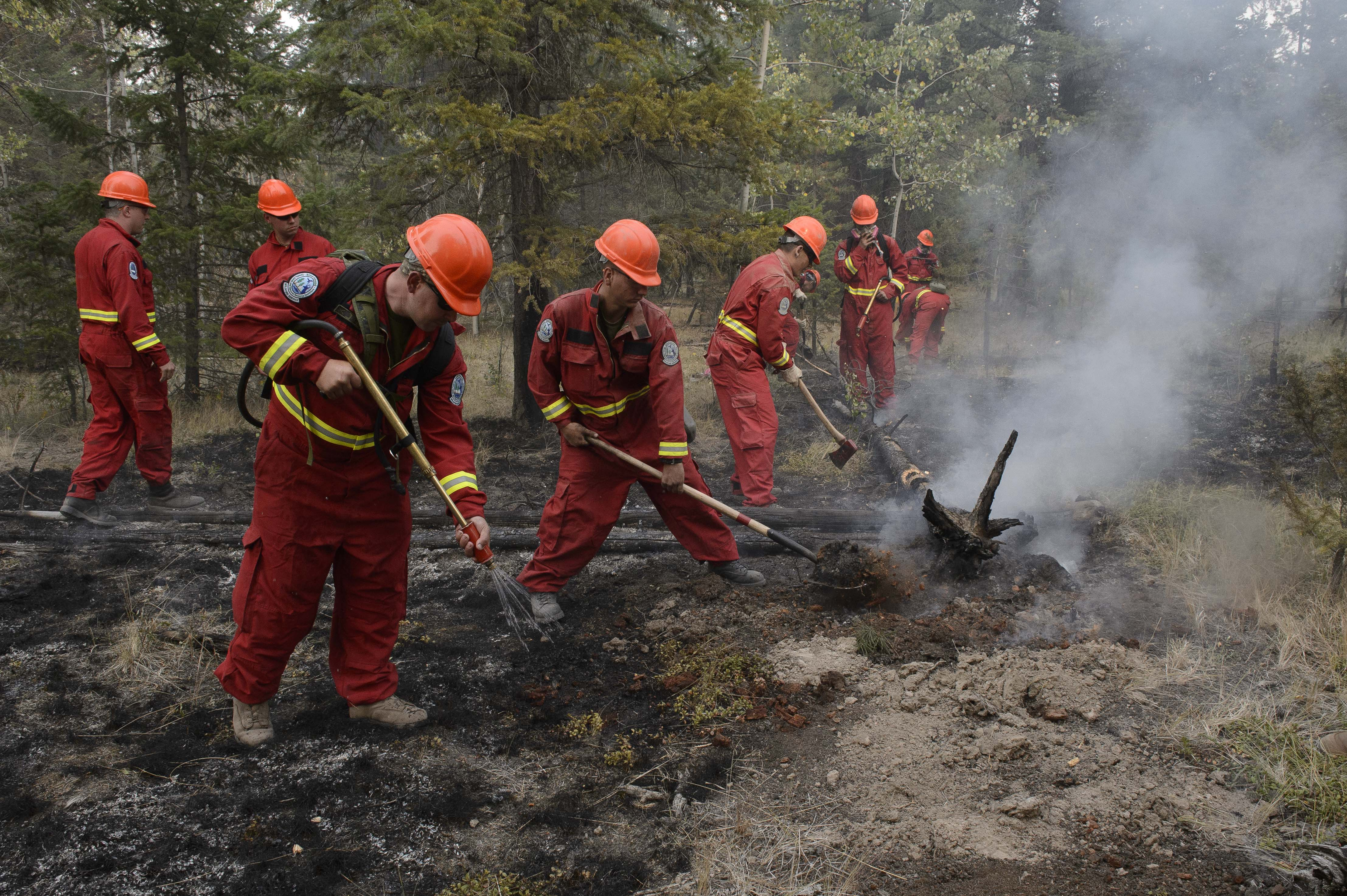 Members of a Domestic Response Company made up of Canadian Army Primary Reserves from all over British Columbia attack a fire hot zone near Riske Creek, BC during OPERATION LENTUS, 17 August, 2017. Photo by: Cpl Blaine Sewell, MARPAC Imaging Services
