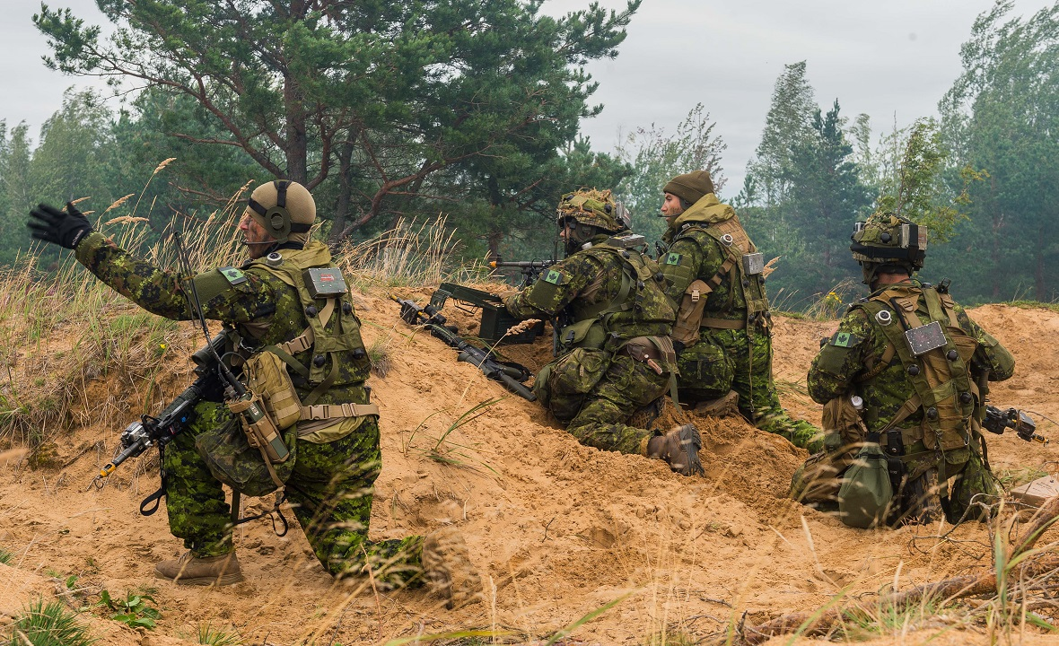 Canadian soldiers with NATO's enhanced Forward Presence Battlegroup Latvia identify enemy force positions on August 24, 2017, during the Certification Exercise being held at Camp Adazi, Latvia. Photo: Cpl Jordan Lobb, Canadian Forces Combat Camera
