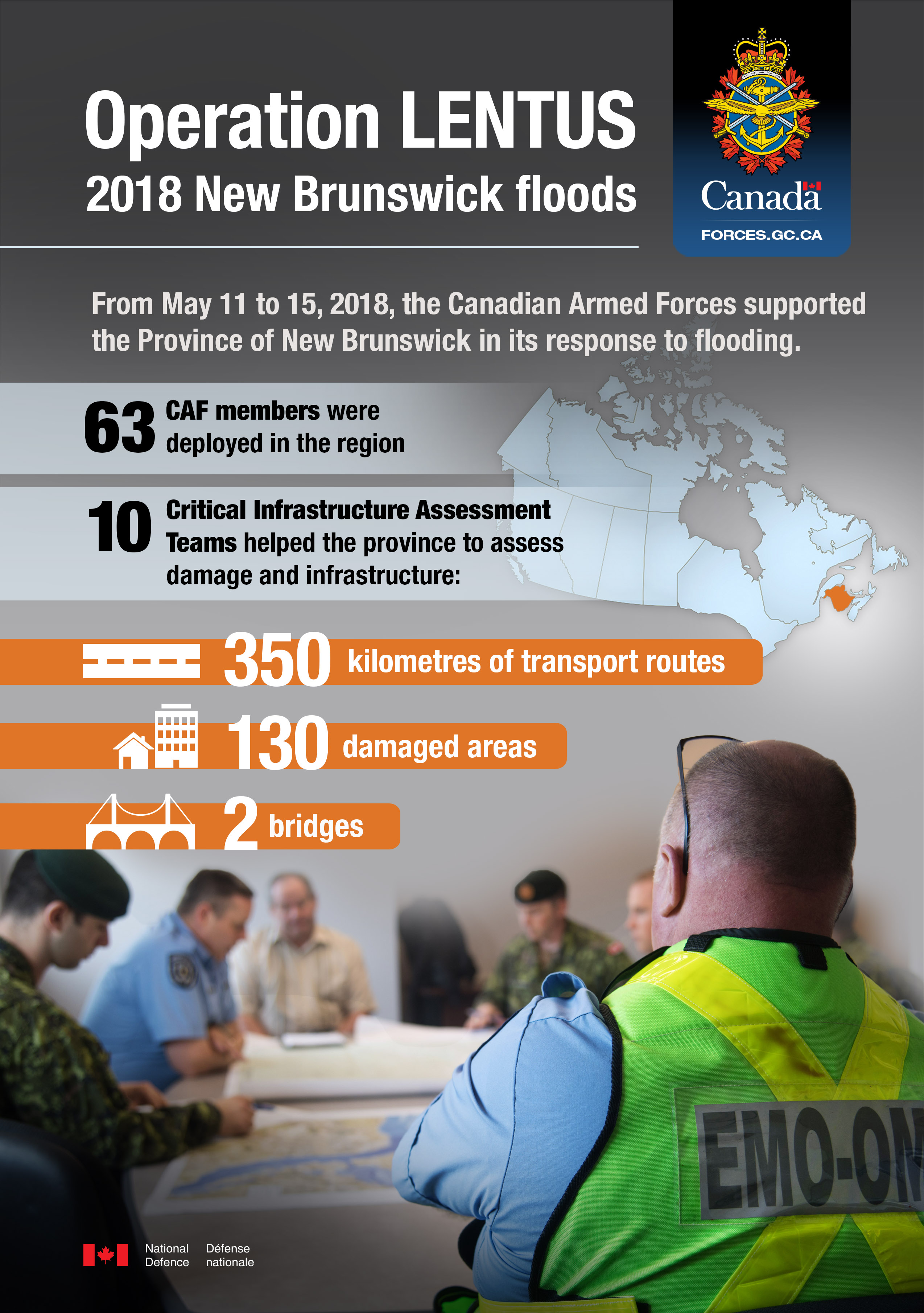 Infographic about Operation LENTUS 2018, the CAF response to flooding in New Brunswick.