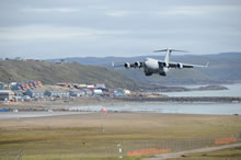 Iqaluit, Nunavut. 20 August 2014 - A Royal Canadian Air Force CC-177 Globemaster lands at Iqaluit airport, Nunavut, on Aug 20, 2014 during Operation NANOOK 2014. The aircraft is providing key strategic airlift during the annual operation. (Photo by Canadian Armed Forces)